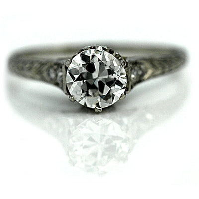 Vintage Diamond Engagement Ring with Engraved Band