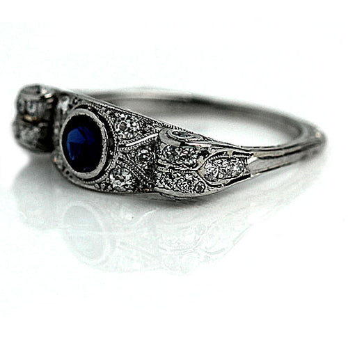 Art Deco Sapphire Diamond Platinum Ring