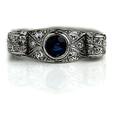 Bezel Set Sapphire & Diamond Engagement Ring