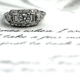 .40 Carat Mid Century Platinum Engagement Ring