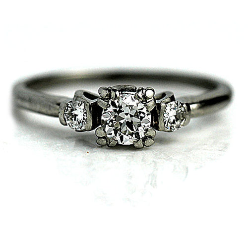 .40 Carat Antique Three Stone Diamond Platinum Ring