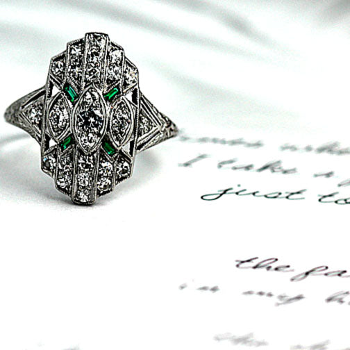 Art Deco Diamond Emerald Dinner Ring