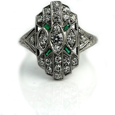 Vintage Diamond & Emerald Dinner Ring - Vintage Diamond Ring