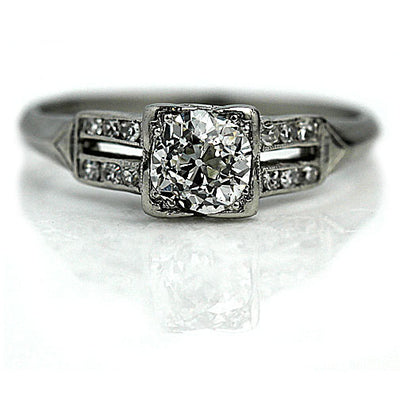 Vintage Split Shank Diamond Engagement Ring
