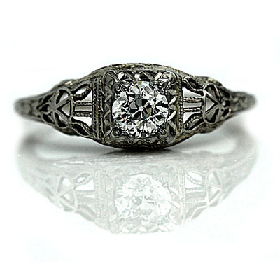 Vintage Diamond Engagement Ring with Open Metal Work