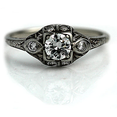 Unique European Cut Diamond Engagement Ring with Side Stones