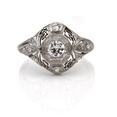 Intricate Edwardian Platinum Diamond Dome Engagement Ring