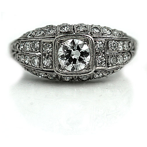 Art Deco .50 Carat Engagement Ring Platinum