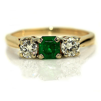 Emerald & Diamond Three Stone Engagement Ring - Vintage Diamond Ring