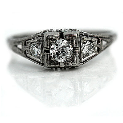 Vintage White Gold Engagement Ring with Milgrain