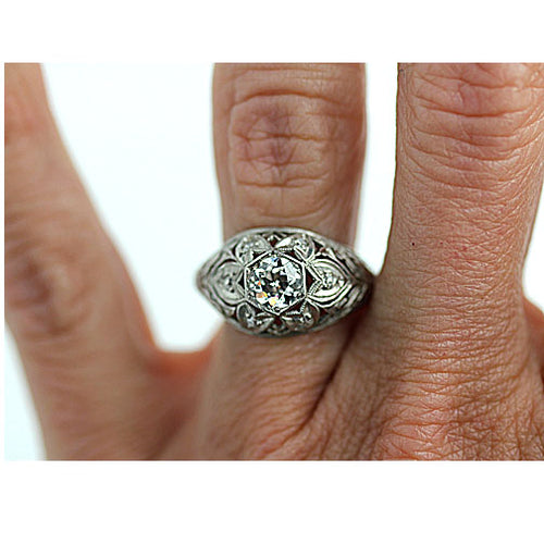 Hexagonal Diamond Bombe Engagement Ring