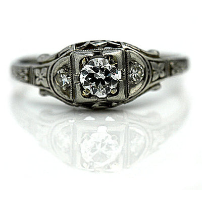 Intricate Art Deco Floral Engagement Ring