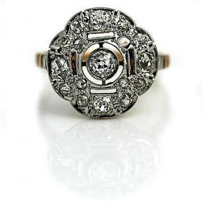 Edwardian Open Halo Diamond Engagement Ring