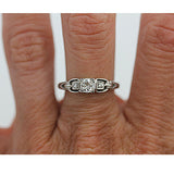 Mid-Century .35 Carat Mine Cut Platinum Diamond Ring