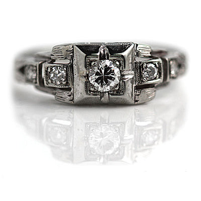 1920s Antique Engagement Ring with Side Diamonds
