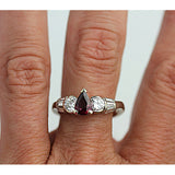 Pear Cut Ruby & Diamond Engagement Ring