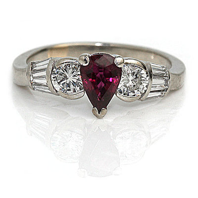 No Heat Pear Cut Ruby & Diamond Engagement Ring - Vintage Diamond Ring