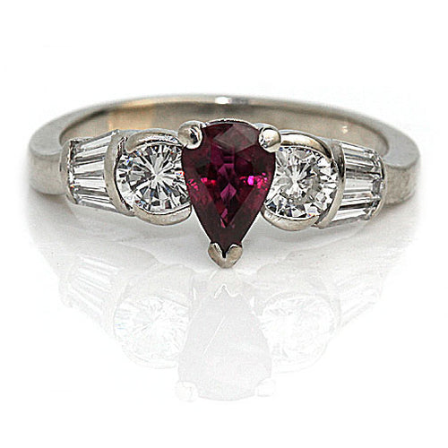 Vintage .90 Carat No Heat Siamese Ruby Diamond Ring