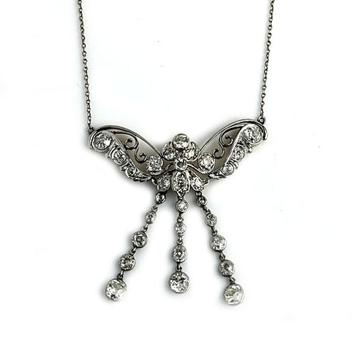 Antique Platinum Diamond Butterfly Necklace