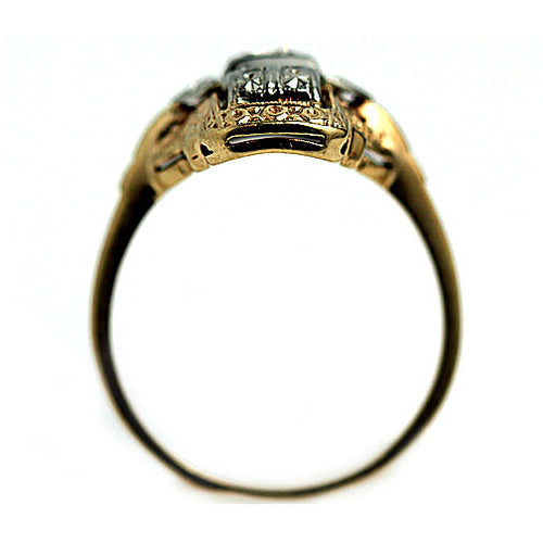 Vertical Two Tone Diamond Dinner Ring Signed