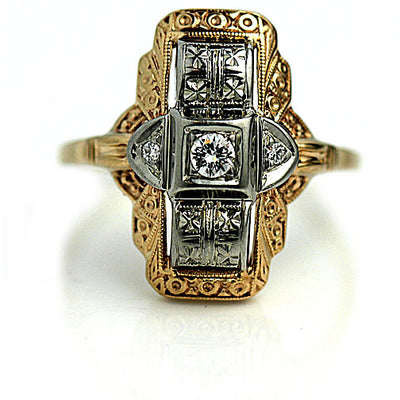 Vintage Two Tone Diamond Dinner Ring Signed Jabel