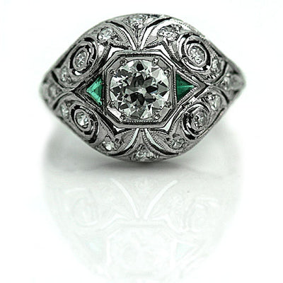 Edwardian Diamond & Emerald Engagement Ring