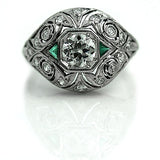 .70 Carat Art Deco Diamond Emerald Dome Ring