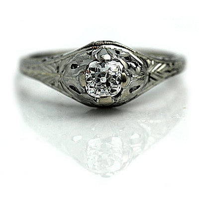 Art Deco Cushion Cut Diamond Engagement Ring