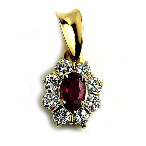 Mid Century Ruby Diamond Pendant
