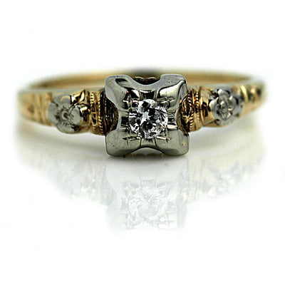 Estate European Cut Diamond Floral Engagement Ring