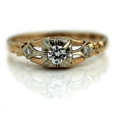 Two Tone Square Diamond Engagement Ring
