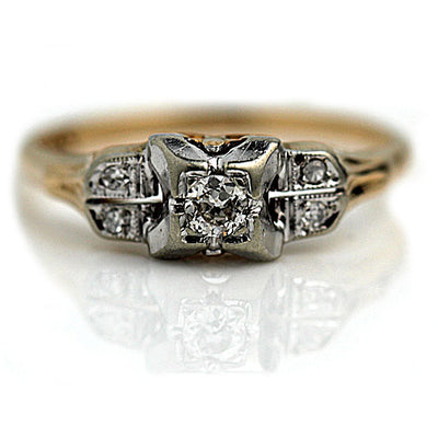 Antique Two Tone Diamond Engagement Ring