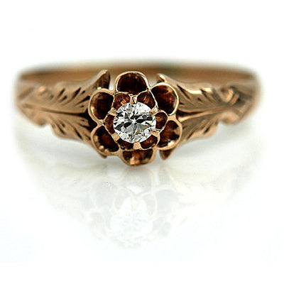 Mid Century Rose Gold Engagement Ring