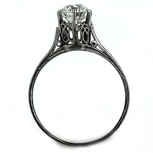 Solitaire Engagement Ring with Filigree Engravings