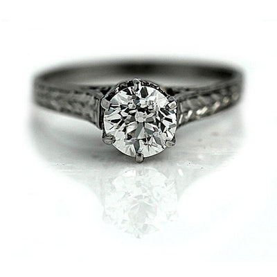 Vintage Solitaire Engagement Ring with Filigree Engravings