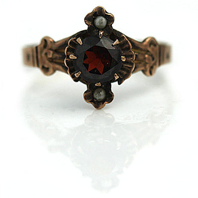 Unique Garnet & Pearl Engagement Ring