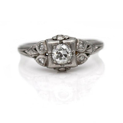 Intricate Diamond Engagement Ring - Vintage Diamond Ring