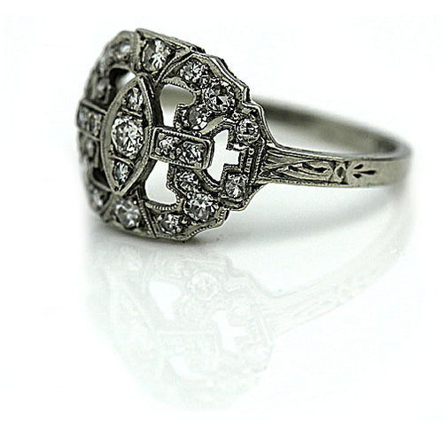 Art Deco Dinner Ring in Platinum