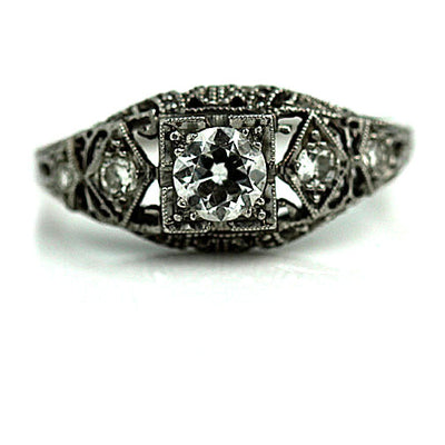 Antique Open Faced Engagement Ring with Milgrain