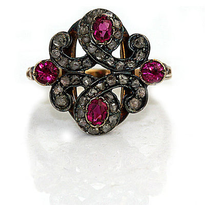 Art Nouveau Ruby & Rose Cut Diamond Ring - Vintage Diamond Ring