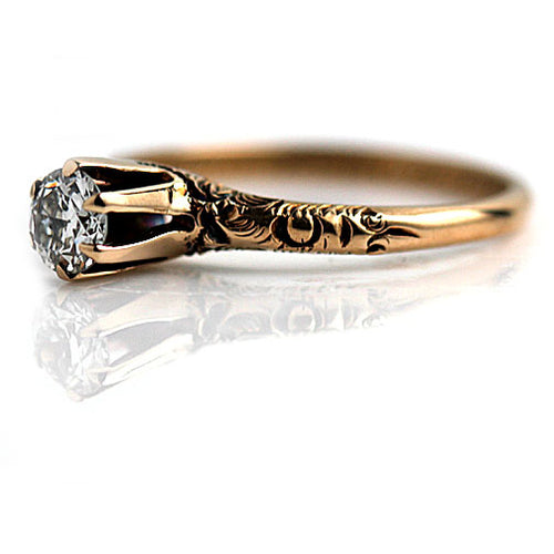 1920's Rose Gold Solitaire Engagement Ring .40 Carat
