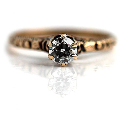 Thin European Cut Diamond Engagement Ring with Engraved Band