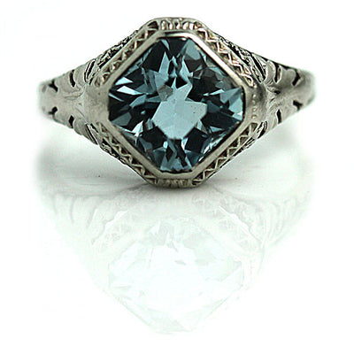 Art Deco Square Cut Aquamarine Engagement Ring