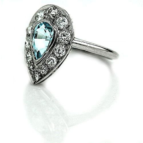 Diamond Halo Aquamarine Ring