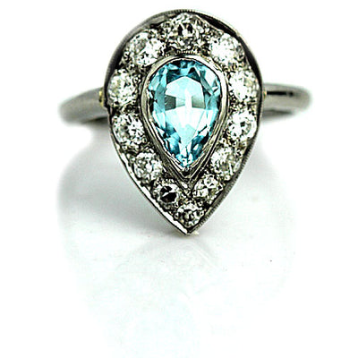 Aquamarine & Diamond Halo Engagement Ring - Vintage Diamond Ring