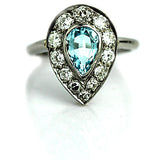 Vintage Aquamarine Diamond Engagement Ring in Platinum