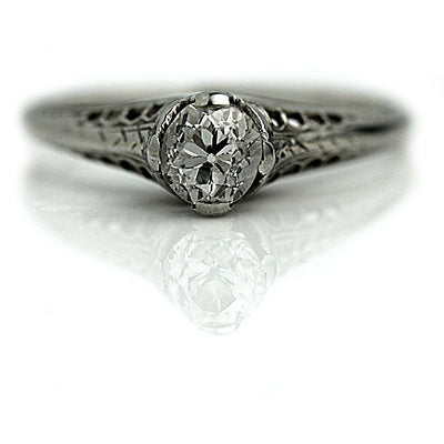 Mine Cut Diamond Solitaire Engagement Ring