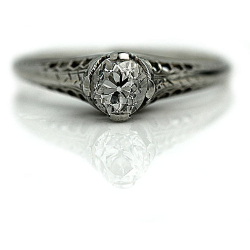 Art Deco .50 Carat Solitaire Platinum Ring