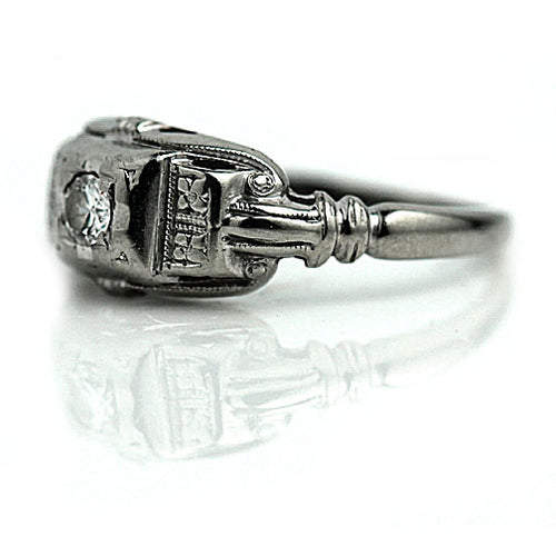 Hand Crafted Art Deco Solitaire Engagement Ring