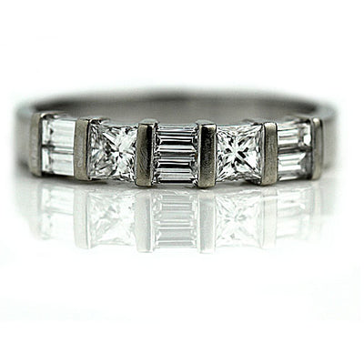 Princess Cut & Baguette Diamond Wedding Band